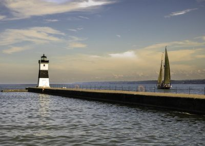 Lighthouse and Tall Ship at Presque Isle State Park