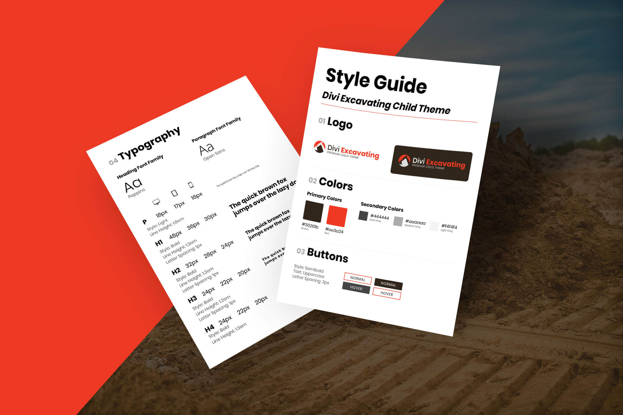 Divi Excavating Style Guide Mockup