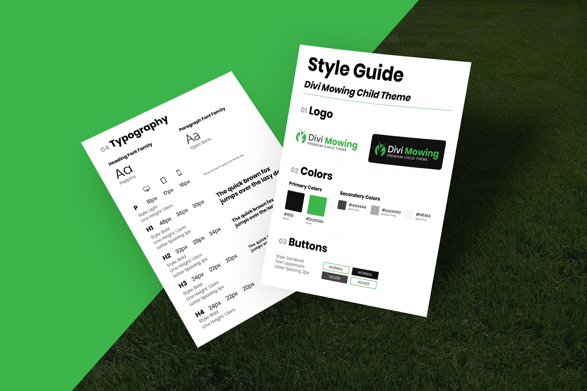 Divi Mowing Child Theme Style Guide Mockup