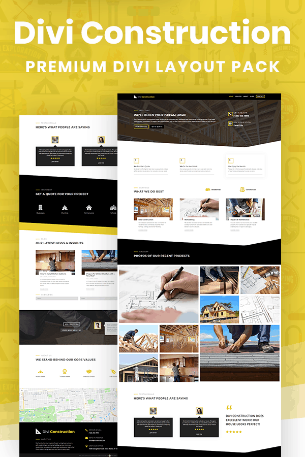 Divi Construction Layout Pack by Pee-Aye Creative