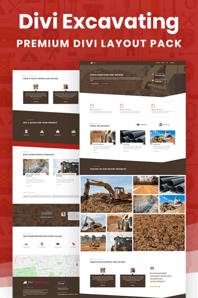 Divi Excavating Layout Pack by Pee-Aye Creative