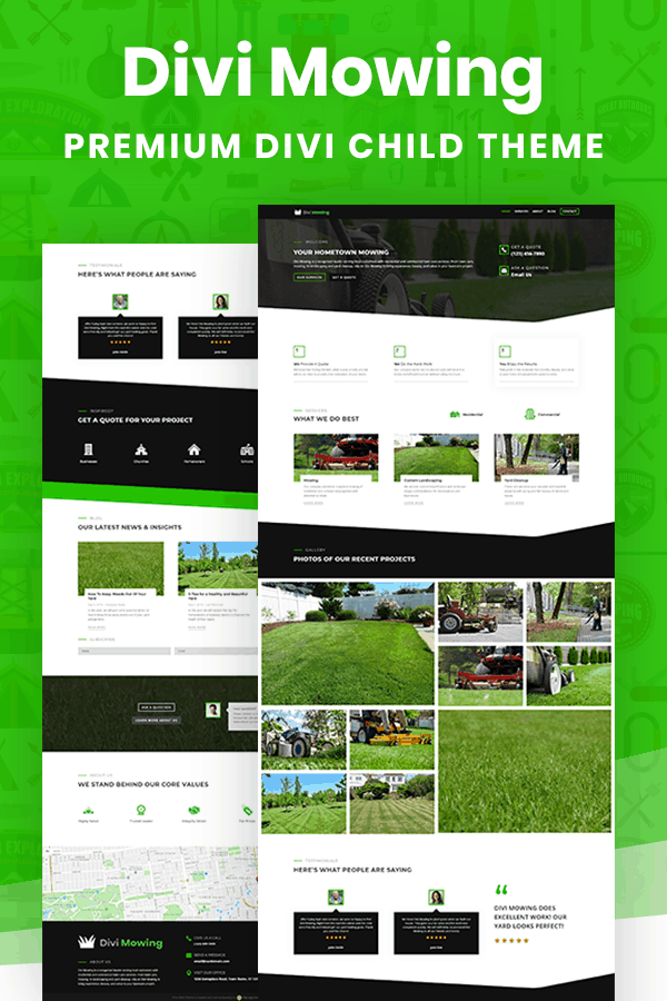 Divi Mowing Child Theme by Pee-Aye Creative