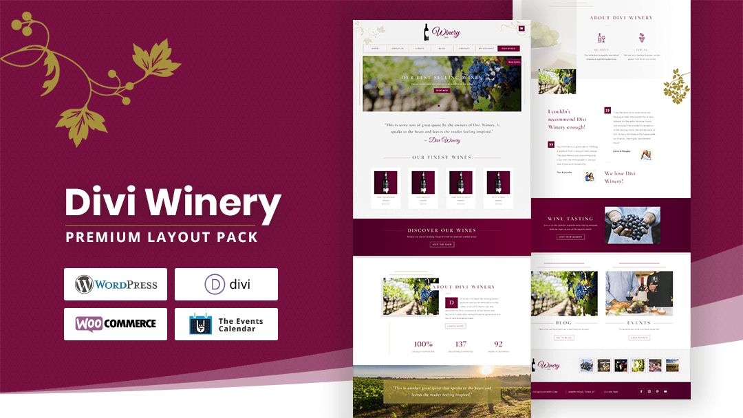 Divi Winery Wine Vineyard Farm Layout Pack