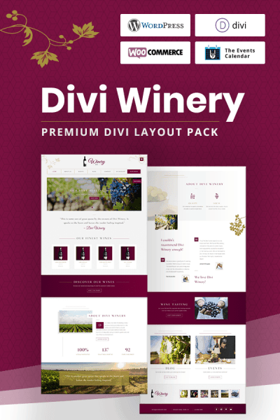 Divi Winery Layout Pack by Pee-Aye Creative