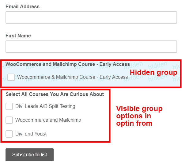 How to use Mailchimp groups with the Bloom optin plugin