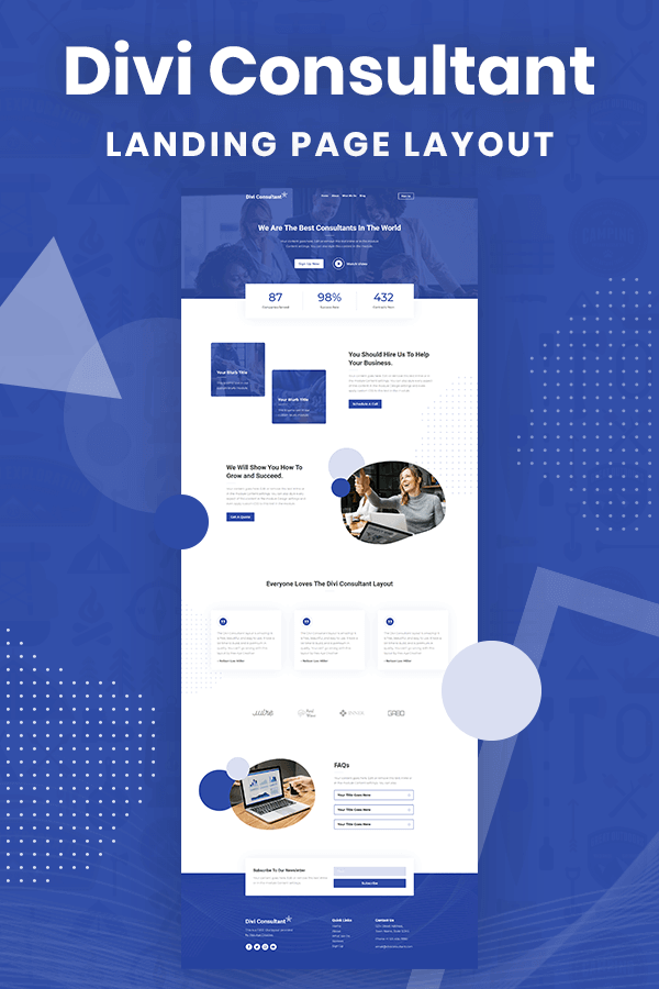 Divi Consultant FREE Landing Page Layout by Pee-Aye Creative