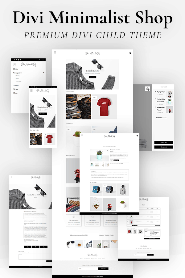 Divi Minimalist Shop Child Theme by Pee-Aye Creative