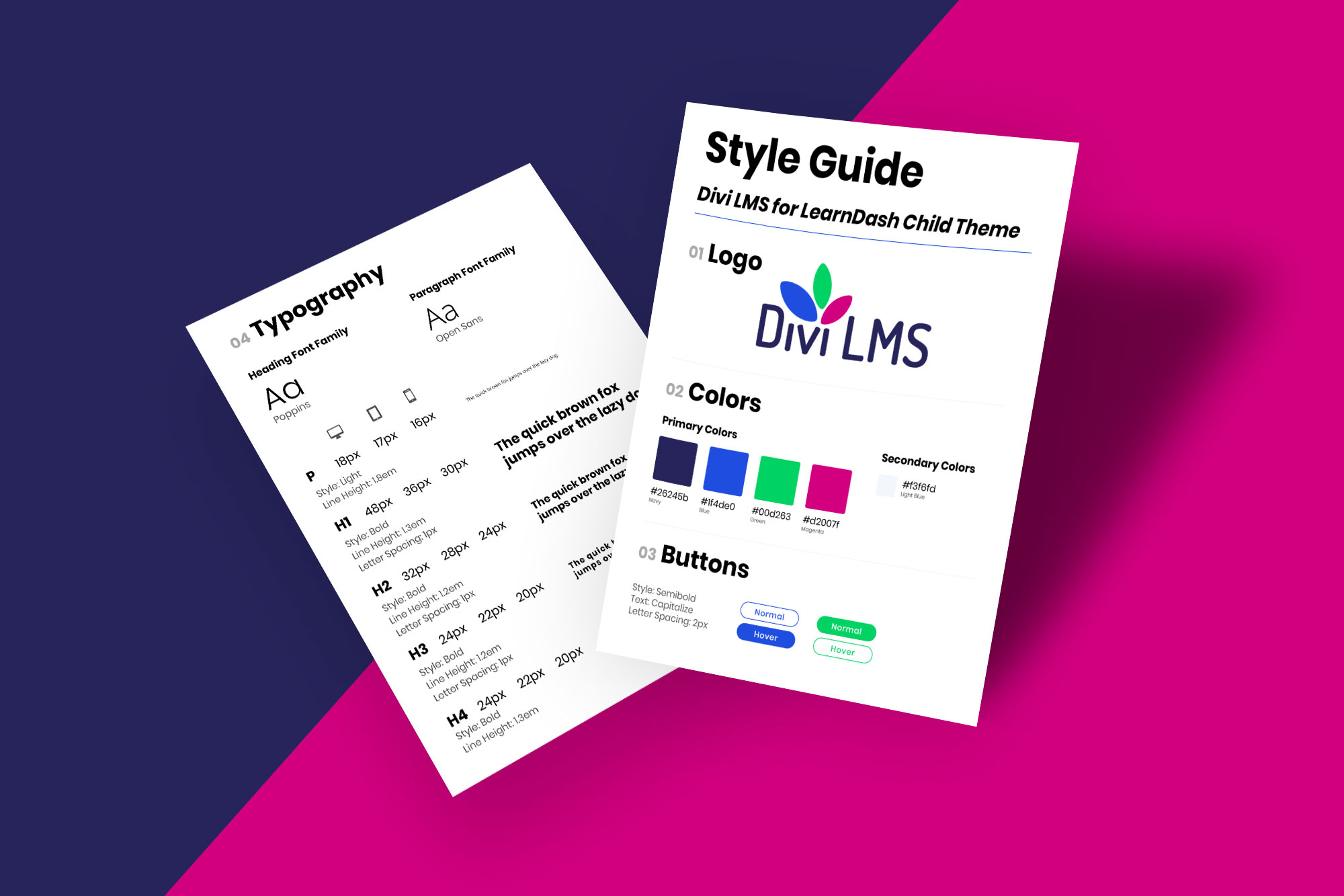 Divi LMS for LearnDash Child Theme Style Guide Mockup