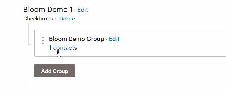 Contacts added to a Mailchimp group with Bloom