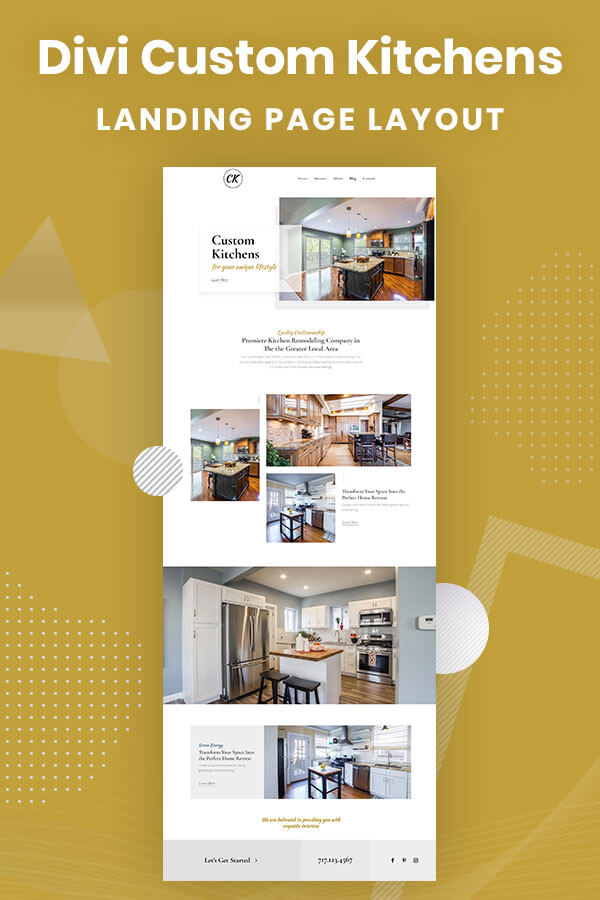 Divi Custom Kitchens FREE Landing Page Layout by Pee-Aye Creative