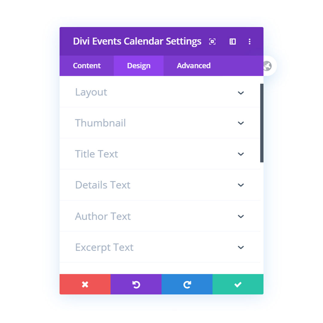 Divi Events Calendar Module Plugin Design Settings