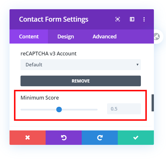 add Google reCAPTCHA account in Divi contact form or email option
