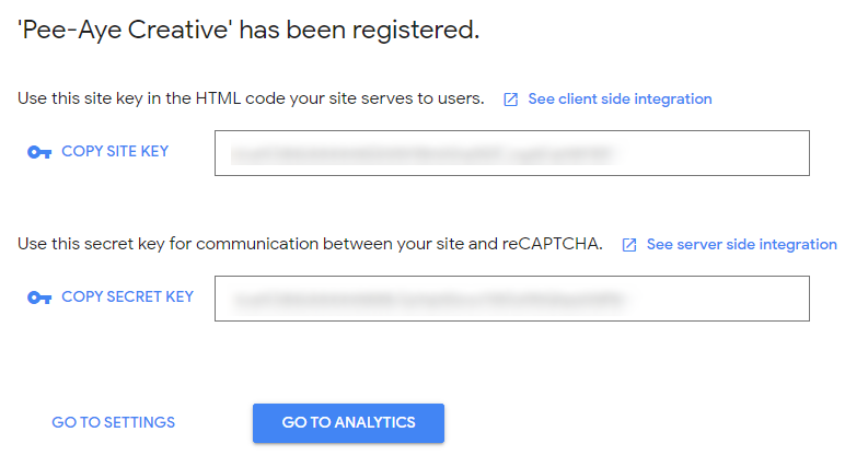 Google reCAPTCHA site key and secret key