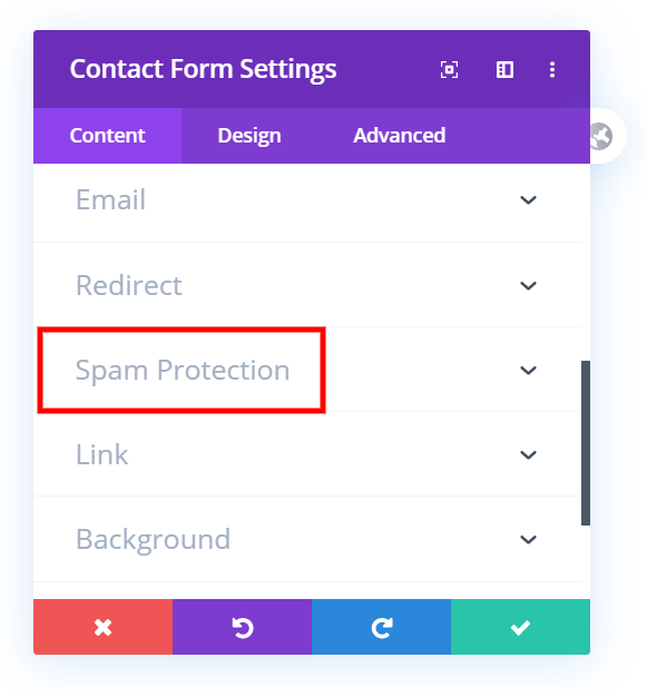anti-spam Divi contact form