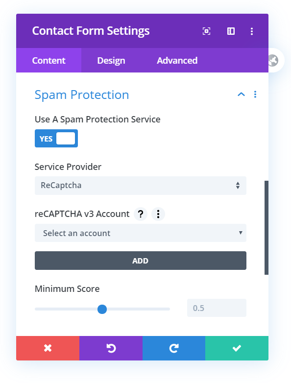 setting up the spam protection service in Divi contact form
