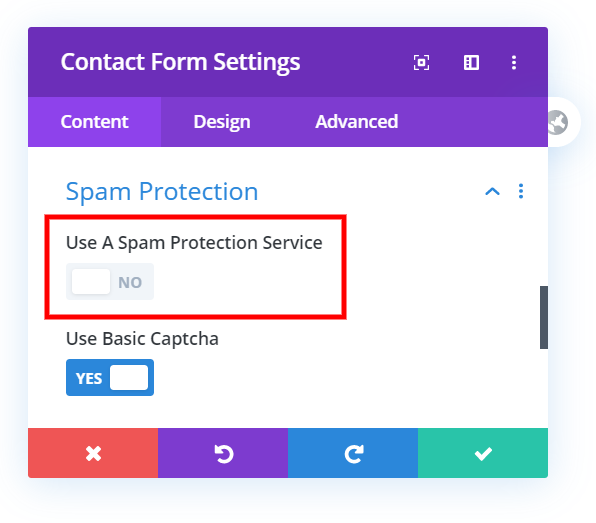 spam protection service in the Divi contact form