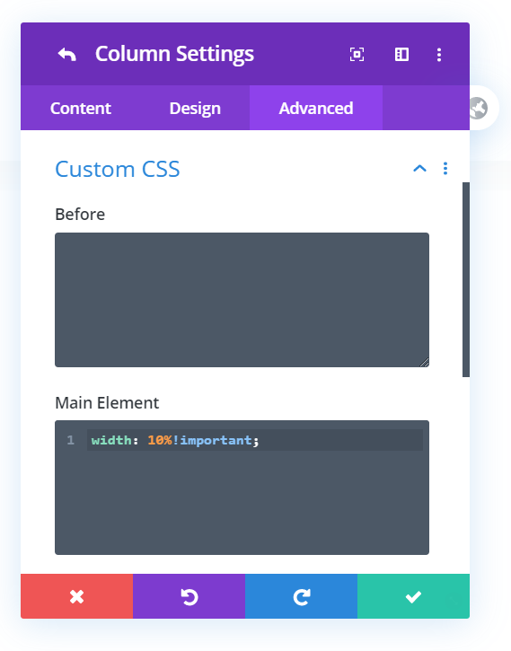 CSS used to resize Divi columns