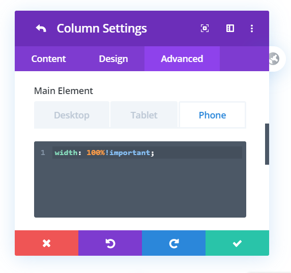 Change the Divi mobile column width on mobile