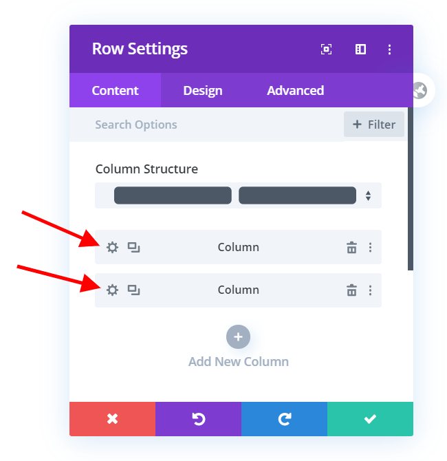 Edit the row settings to adjust the Divi mobile column stacking order