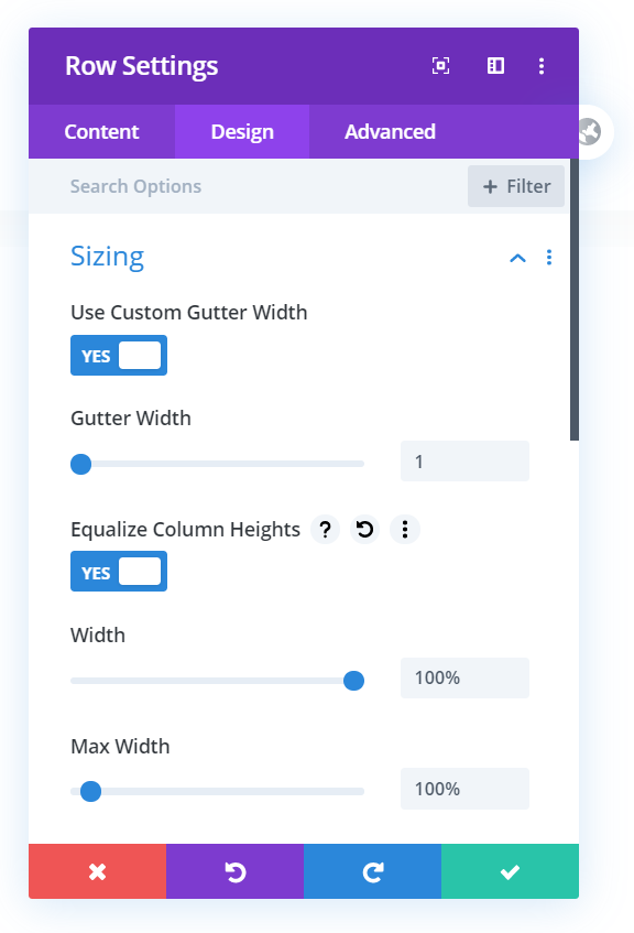 Row Settings to resize Divi columns