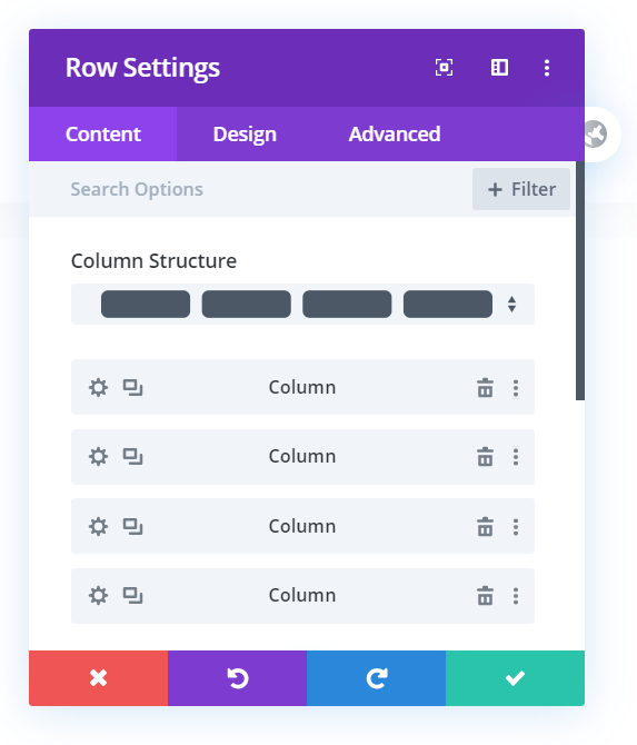Row Settings used to resize Divi columns