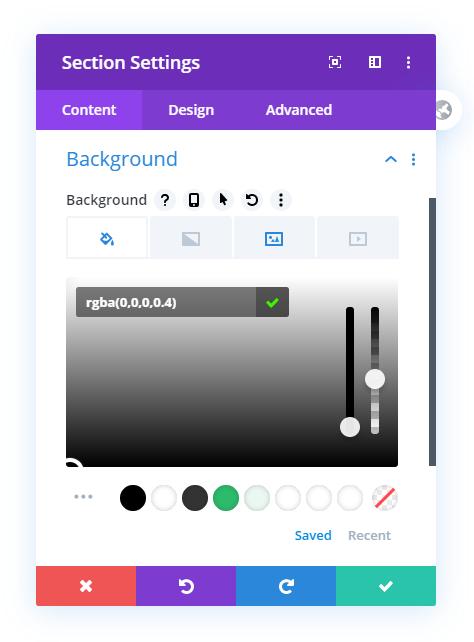 Set Divi section background color overlay for transparent header
