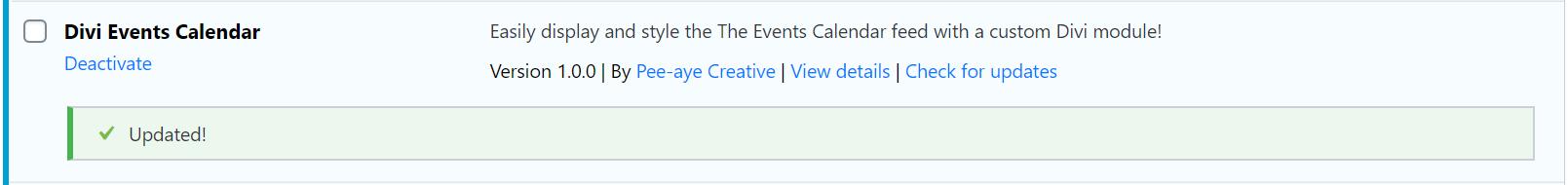Successfully updated the Divi Events Calendar Module plugin