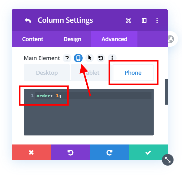 add css to the column settings to adjust the Divi mobile column stacking order
