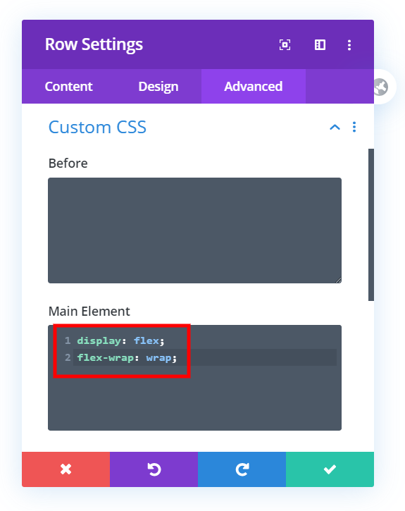 add css to the row settings to adjust the Divi mobile column stacking order