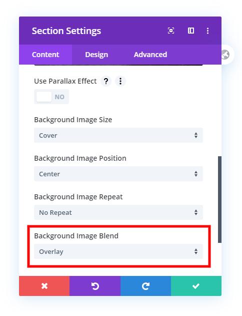 set background image blend to overlay for Divi transparent header section