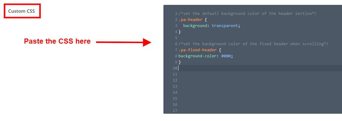 add CSS code to Divi to make the header menu fixed on scroll