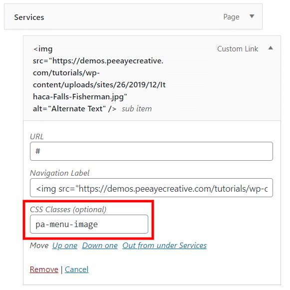 add a custom CSS class to Divi image in menu
