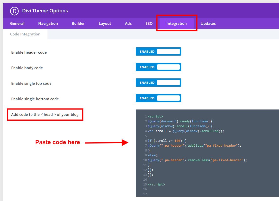 add code to Divi to make the header menu fixed on scroll