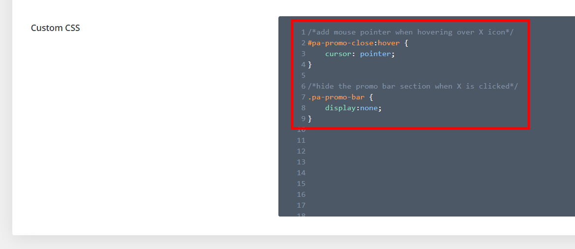 Add CSS code to the Divi promo bar