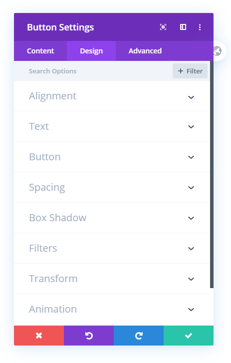 missing sizing toggle settings in the button module