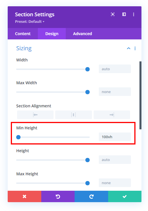 set a Divi section to full height in the Divi Builder
