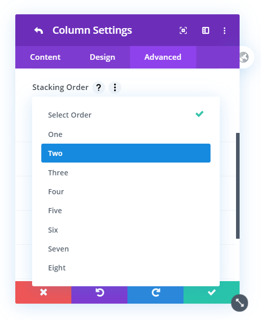 Divi Responsive Helper Column Stacking Settings in the Row