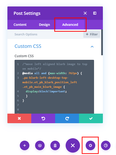 add code in Divi to the page settings custom css