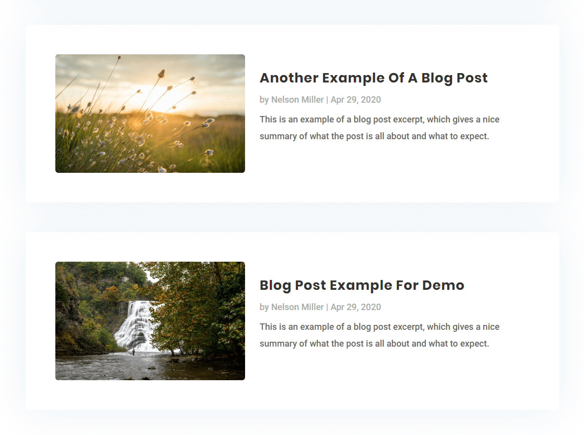 change the Divi blog module to a list layout with the image on left and details on right