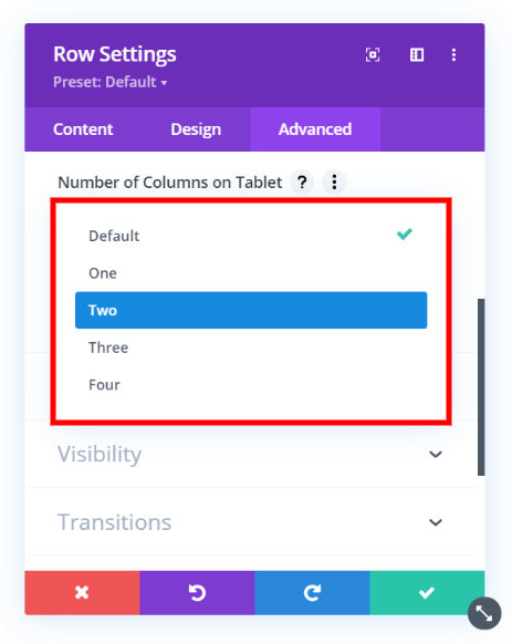 choose the Divi Responsive Helper number of columns for tablet or phone