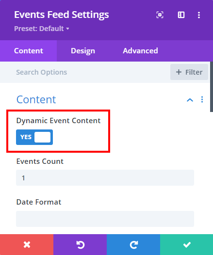 dynamic event content for building event category pages in Divi