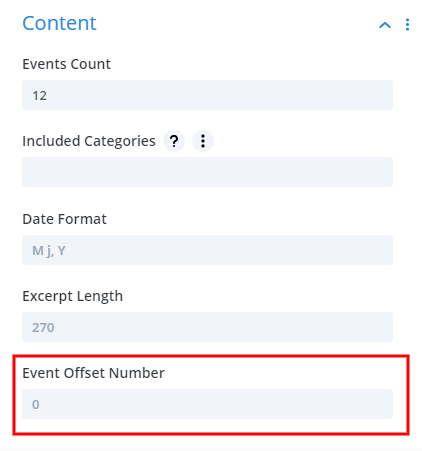 new event offset number in the Divi events Calendar module