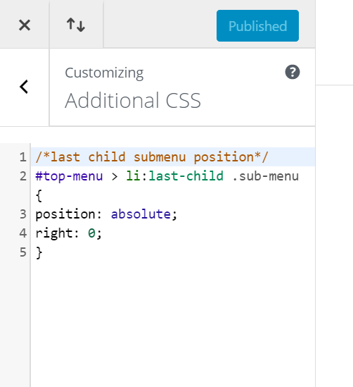 where to add code to the additional CSS area in the Divi Theme customizer