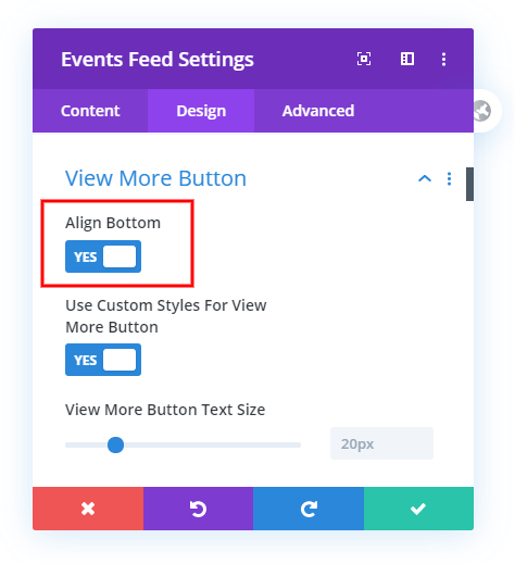 Align buttons to the bottom for each event in the Divi Events Calendar