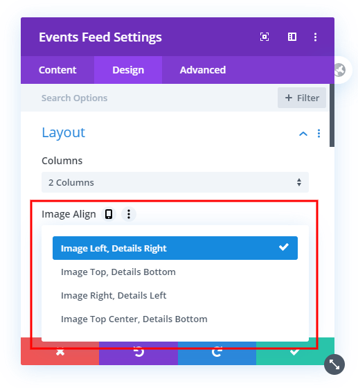 All the layout options in the Divi Events Calendar