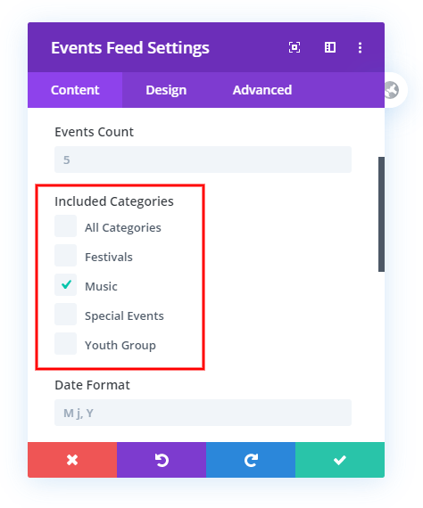 Choose Categories with Checkboxes selection in the Divi Events Calendar