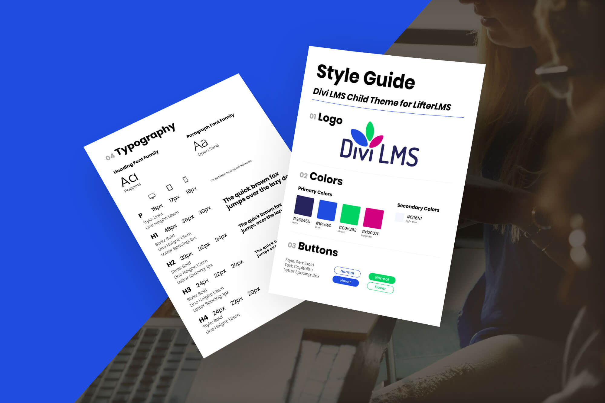 Divi LifterLMS Style Guide Mockup