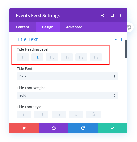 Heading Selection in the Divi Events Calendar Module