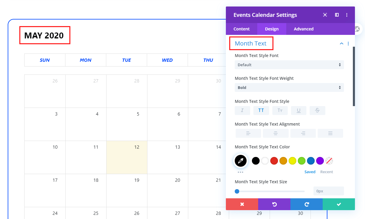 Month Text Styling in the Calendar View of the Divi Events Calendar