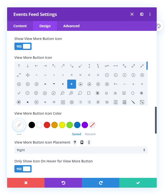 New Icon Settings for the View More Button in the Divi Events Calendar